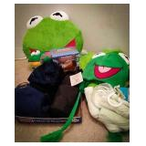 Kermit the frog plush throw pillow and winter