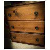 3 drawer wooden chest matches lot 182 measuring