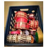 New spools of butterfly and plaid ribbon, large