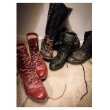 Red wing shoes full lace-up leather boot black,