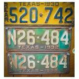 Set of 1932 Texas license plates