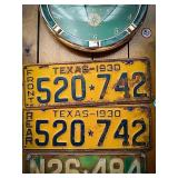 Set of 1930 front and rear license plates from