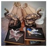 Elephant bookends, mini chandelier style lamp