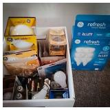 Large variety of household light bulbs including