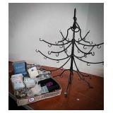 Metal hanging jewelry display tree, variety of