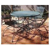 Nice green metal outdoor table and chairs with