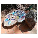 Decorative stepping stones and landscaping rock