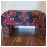 Beautiful Fabric Wrapped Ottoman.