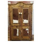 Stunning Wood and Cowhide Cabinet.