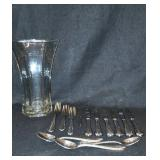 Glass Vase and Flatware.