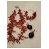 Red Coral Like Stick Necklace and Bracele