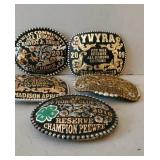 5 Metal Rodeo Belt Buckles.