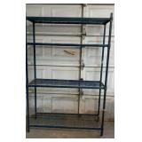 Blue Painted Metal Wire Shelf.