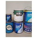 Various Gallons and Quart of Paint.