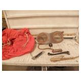 RED BOY SCOUTS BAG, HARMONICA, WHIP, WRENCH