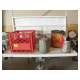 SILVER SHELL TIN. OIL CANS, CRATE