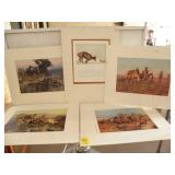 """5 MATTED C.M. RUSSEL PRINTS, 16"""" X 20"""""""