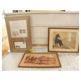 2 FRAMED PICTURES, MATTED CHUCKWAGON PICTURE