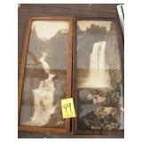 """2 FRAMED YELLOWSTONE PARK PICTURES, 14 1/4"""" X 6"""""""