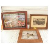 3 FRAMED PICTURES, DUCK, THE MARKET, BOATS