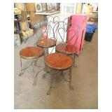 SET OF 4 HEART BACK PARLOR CHAIRS