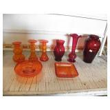 RED, CRACKEL GLASS VASES, ASHTRAY, DISH