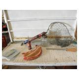 FISHING NET, POWDER HORN, SPRAYER