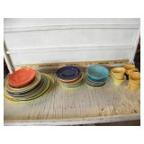 BOX OF SEVERL MISC COLORFUL PLATES AND BOWLS