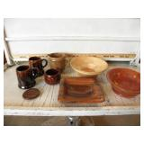 WOOD & POTTERY DISHES