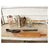 MIXING GLASS, ROLLING PIN, S & P SHAKERS