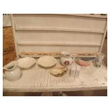 SEVERAL McCOY DISHES, S&P SHAKERS, CREAMER