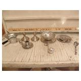 STERLING WEIGHTED CANDLE HOLDERS, OTHER DISHES