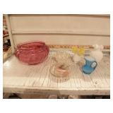 PILGRAM CRANBERRY GLASS, HOBNAIL, OTHER GLASS PCS