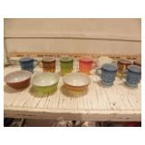 FIRE-KING MUGS & BOWLS, VERY COLORFUL