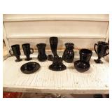 BLACK AMYTHYST DISHES, CANDLE HOLDER, VASE, CUPS