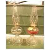 2 CLEAR GLASS KAROSENE LAMPS