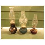 3 KAROSENE LAMPS, BLACK, GREEN, CLEAR