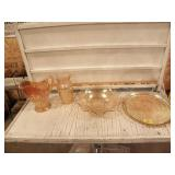 CARNIVAL GLASS DISHES, PITCHER, BOWL SERVING TRAY