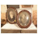 """2 FRAMED PICTURES, 1 W/ CONVEX GLASS, 25"""" X 19"""""""