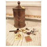 TOBACCO PIPE TIN HOLDER W/ ADVERTISING MATCH BOOKS