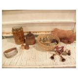 GLASS JARS, BRASS BELLS, PC OF LEATHER, MASHER