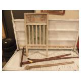 WASH BOARD, WALKING STICK, OTHER WOOD ITEMS