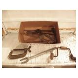 VINTAGE HAND TOOLS, CLAMP, HAND DRILL, WRENCHES