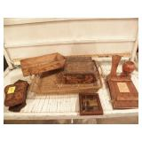 WOOD BOXES, VASES, BASKETS, SMALL FRAMED PICTURE