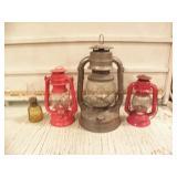 4 VINTAGE OIL LAMPS