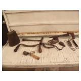 VINTAGE TOOLS, COW BELL, DRAW KNIFE, SAW, SCALE