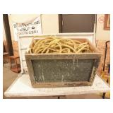 WOOD BOX FULL OF NYLON ROPE