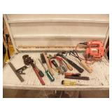 SEVERL MISC HAND TOOLS, JIG SAW