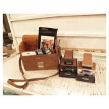 2 POLAROID CAMERAS, W/ EXTRA IN A LEATHER CASE