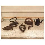 CAST IRON TRIVETS, SAD IRONS, KNIFE SHARPENER